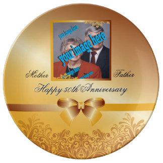 Personalizable del aniversario del boda de oro platos de cerámica