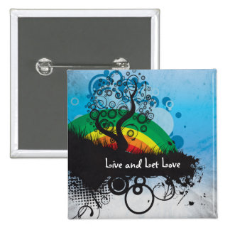 Personalizable del árbol del arco iris del Grunge Pin Cuadrada 5 Cm