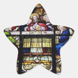 PERSONALIZABLE DEL CATÓLICO 04 DE JESÚS CRIST DE PEGATINA EN FORMA DE ESTRELLA