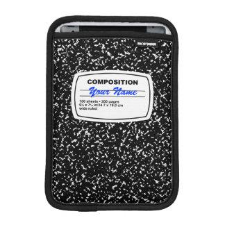 Personalizable del cuaderno de la composición funda para iPad mini