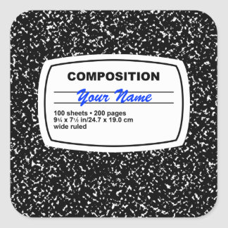 Personalizable del cuaderno de la composición pegatina cuadrada