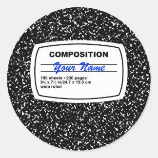 Personalizable del cuaderno de la composición pegatina redonda