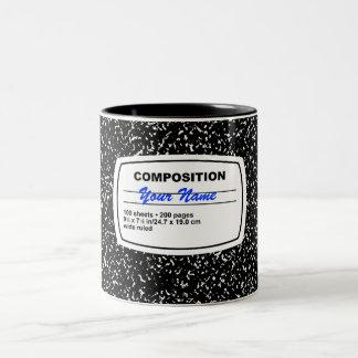 Personalizable del cuaderno de la composición taza dos tonos