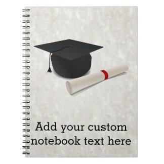 Personalizable del diploma del casquillo de la libros de apuntes