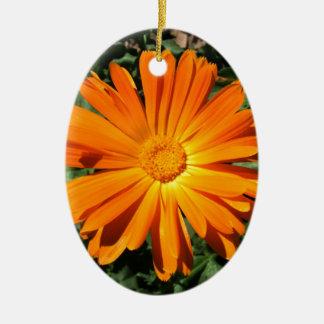 Personalizable del diseño de la margarita adorno navideño ovalado de cerámica