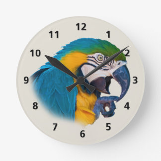 Personalizable del loro del azul y del oro reloj redondo mediano