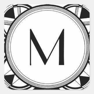 Personalizable del monograma del art déco pegatina cuadrada