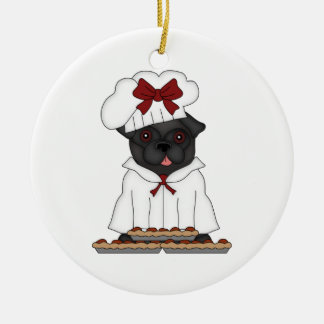 Personalizable del negro del cocinero de la pizza  ornamentos de reyes