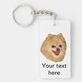 Personalizable del perro de Pomeranian Llavero Rectangular Acrílico A Doble Cara