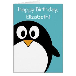 Personalizable del pingüino del cumpleaños tarjeta de felicitación