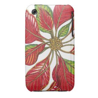 Personalizable del Poinsettia el del día de fies iPhone 3 Funda