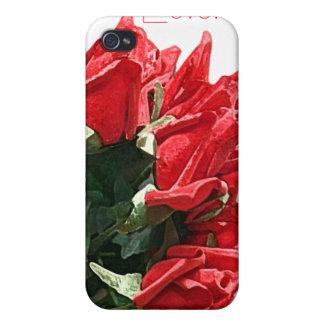 personalizable del ramo del rosa rojo iPhone 4 cárcasas