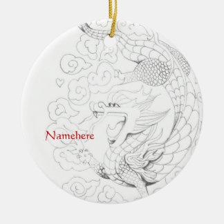 Personalizable: Dragón del Año Nuevo Adorno Navideño Redondo De Cerámica
