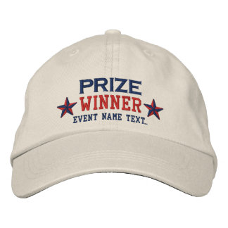 Personalizable Edit Text Prize Winner Embroidery Embroidered Baseball Hat