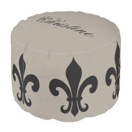 Personalizable elegant fleur de lis pattern pouf
