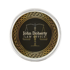 Personalizable Elegant Golden Scales of Justice Lapel Pin