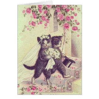 Personalizable en blanco de los gatos del boda felicitacion