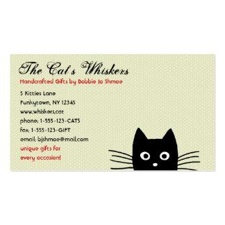Personalizable enrrollado del gato negro tarjetas de visita