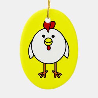 ¡Personalizable feliz lindo del pollo! Adorno Ovalado De Cerámica