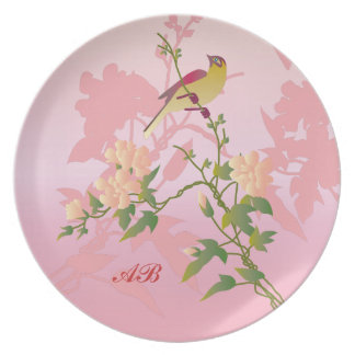 Personalizable Flores y pájaro Platos De Comidas
