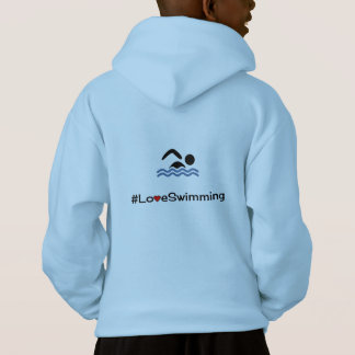 Personalizable front love swimming pictogram hoodie