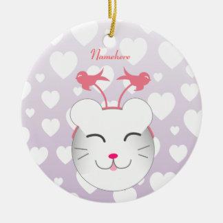 Personalizable: Gatito de Kawaii Alfie Ornamentos De Navidad