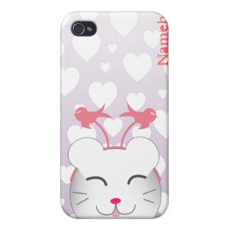 Personalizable: Gatito de Kawaii Alfie iPhone 4/4S Fundas