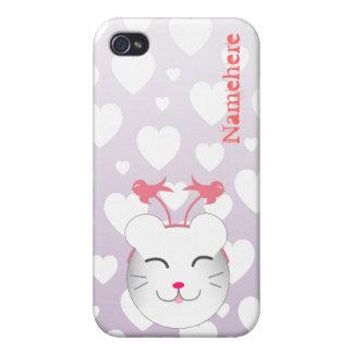 Personalizable: Gatito de Kawaii Alfie iPhone 4/4S Carcasa