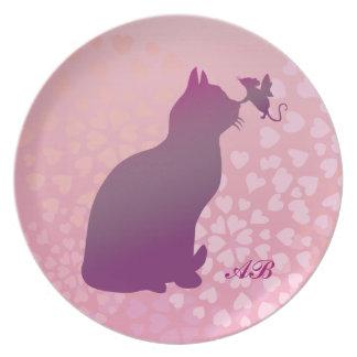 Personalizable Gatito y ratón de la hada Plato De Cena