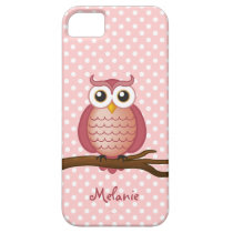 Personalizable Girly Owl | Pink Polka Dot iPhone SE/5/5s Case