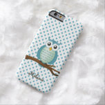 Personalizable Girly Owl   White Aqua Polka Dots Barely There iPhone 6 Case