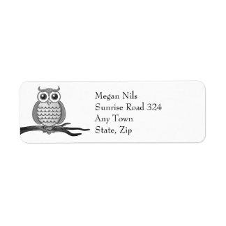 Personalizable Gray Owl   Return Address Label
