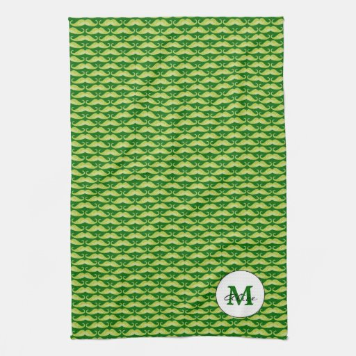 Personalizable Green Mustache KitchenTowel Hand Towels