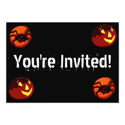 """Personalizable Halloween Spider Invitation 5"""" X 7"""" Invitation Card"""