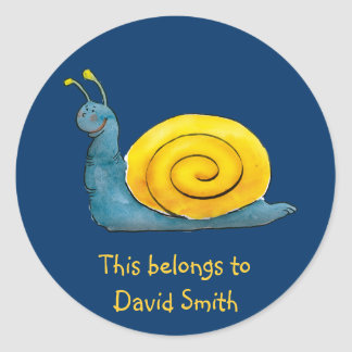 Personalizable Happy Snail | School Classic Round Sticker