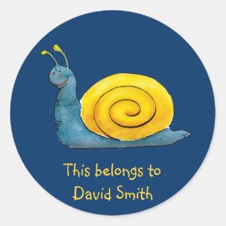 Personalizable Happy Snail | School Sticker