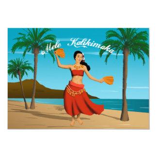 """Personalizable hawaiano de Mele Kalikimaka del Invitación 5"""" X 7"""""""
