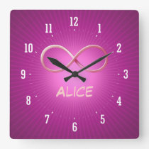 Personalizable Infinity Symbol on Pink Background Square Wall Clock