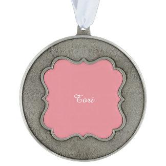Personalizable ligero del rosa de la fresa adorno ondulado de peltre