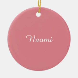 Personalizable ligero del rosa de la fresa adorno redondo de cerámica