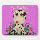 Personalizable lindo Mousepad de la vaca del bebé Tapete De Ratón