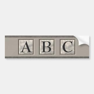 Personalizable Marble Monogram Bumper Sticker