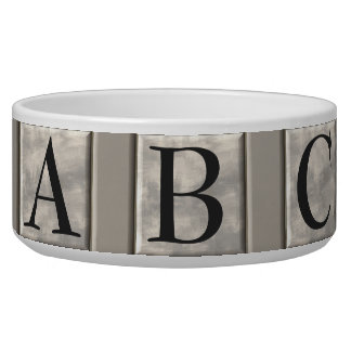 Personalizable Marble Monogram Dog Food Bowls
