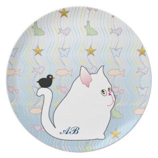 Personalizable Mirlo y gatito blanco Plato De Cena