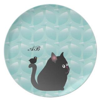 Personalizable Mirlo y gato negro gordo Platos Para Fiestas