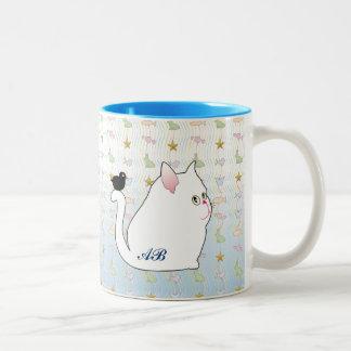 Personalizable: Mirlo y gato negro gordo Taza De Café