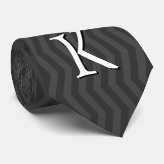 Personalizable Monogram | Gray Chevron Pattern Tie