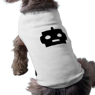 Personalizable negro de la cara del robot del dibu playera sin mangas para perro