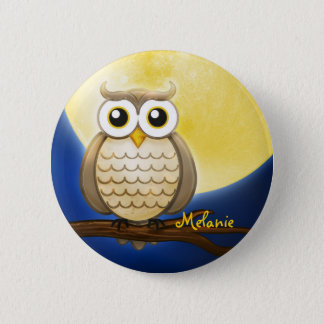 Personalizable Night Wise Owl Pinback Button