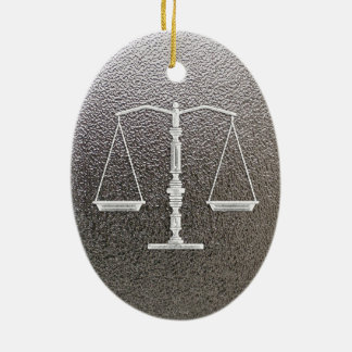 Personalizable Ornament with Scales of Justice